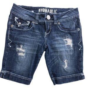 Hydraulic Distressed Denim Jean Shorts SZ 5/6